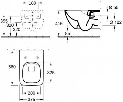 Унитаз подвесной VILLEROY & BOCH Verity Line 4615RL01 c сиденьем Slimseat Line Soft Close