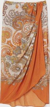 Юбка H&M 7500649 Белая с оранжевым