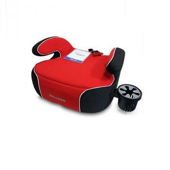 Автокрісло-бустер Welldon Penguin Pad підлокітники, підсклянник червоний з чорним AFK PG08-P02-003
