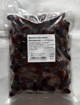 Оливки Kalimera Каламата Jumbo 181-200, темні вялені оливки з кісточкою в оливковій олії, 560 г