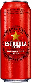 Упаковка пива Estrella Damm Lager світле фільтроване 4.6% 0.5 л х 24 банки (8410793586123)
