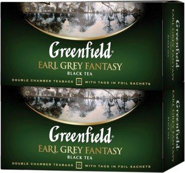 Упаковка чая пакетированного Greenfield Earl Grey Fantasy 25 пакетиков x 2 шт (4823096807645)