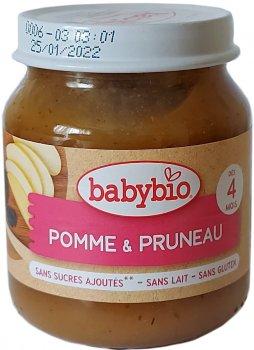 Упаковка дитячого пюре Babybio Органічного з яблука та чорносливу з 4 місяців 130 г х 2 шт. (3288131510767)