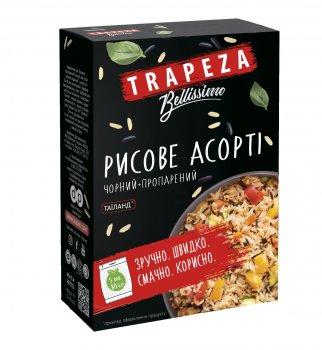 Рисове асорті TRAPEZA шліфованого довгозернистого пропареного та чорного рисів 400 г