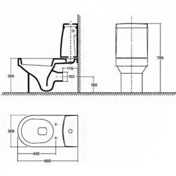 Унітаз-компакт KOLO QUATTRO з бачком (K63200+K64001000)