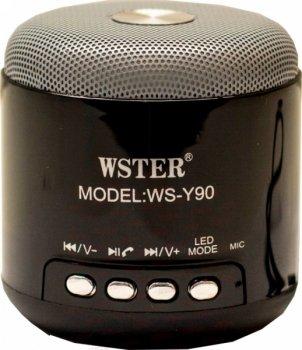 Портативна колонка WSTER WS-Y90B акумуляторна 3 Вт + мікрофон і гучномовець і FM радіо Чорна (11050)