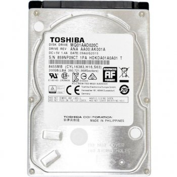 """Жорсткий диск Toshiba 2.5"""" 200GB 4200rpm 8MB SATAII - заводське відновлення (MQ01AAD020C-FR) - Refurbished"""