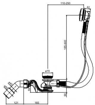 """Сифон для ванны SANIT 35333 трубный 40/50x50 мм """"клик-клак"""" с гибким переливом"""