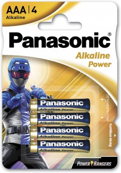 Батарейки Panasonic Alkaline Power щелочные AAA блистер 4 шт Power Rangers (LR03REB/4BPRPR)