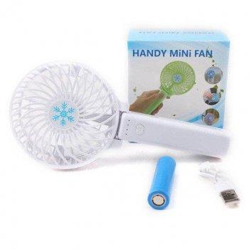 Ручний портативний міні-вентилятор трансформер handy mini fan з акумулятором 18650 Plus Кишеньковий White