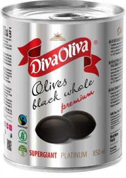 Маслины чёрные Diva Oliva Platinum Супергигант c косточкой 850 мл (5060235659577)