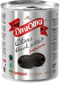 Маслины чёрные Diva Oliva Platinum Супергигант без косточки 850 мл (5060235659591)