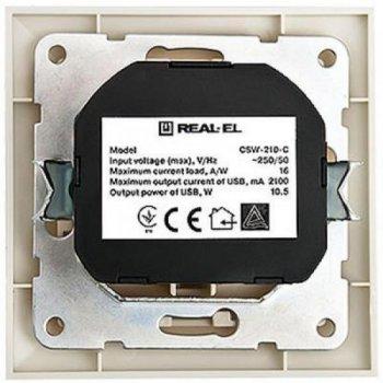 Розетка Real-el Розетка с 2*USB 10.5W (CSW-210-C)