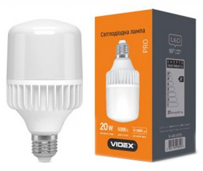 Світлодіодна лампа VIDEX A65 20W E27 5000K 220V (25086)