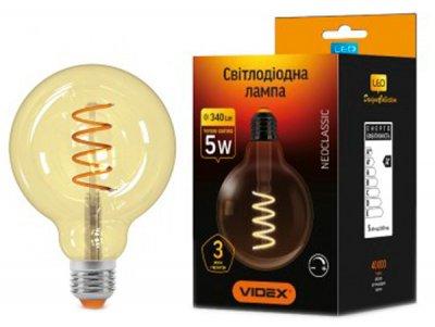 Світлодіодна лампа VIDEX Filament G95FASD 5W E27 2200K 220V димована (25015)
