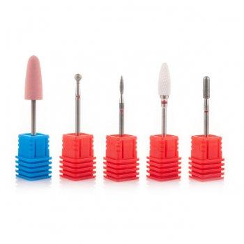 Фрези алмазні Nail Drill набір 5 шт. для тонкої кутикули (червона насічка)