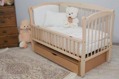 Дитяче ліжко-колиска Еліт Дубок, шухляда+відкидна боковинка, натуральний бук