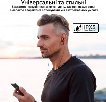 Навушники Promate Bluetooth 5 Quartz IPX5 Red (quartz.red)