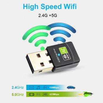 USB Wifi адаптер Chipal 433 Мбит/с двухдиапазонный 2.4GHz - 5GHz (RTL8811)