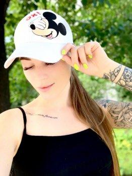 Женская Кепка с принтом Mickey Mouse микки маус белая
