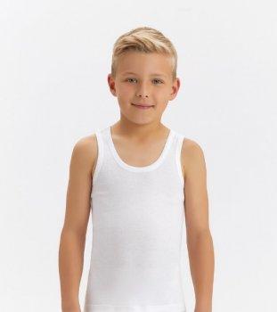 Майка для мальчика Baykar 2214, белая, Турция, 95%хлопок 5%эластан