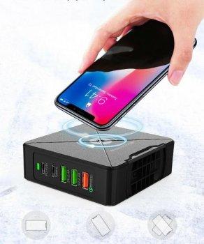 Сетевое Зарядное Устройство Станция Clefers PowerStation PD-75W с БЕСПРОВОДНОЙ зарядкой - Smart Charge c 2*USB-A, 1*USB-A с поддержкой Quick Charge и 2*Type-C (5011075)