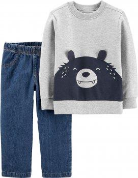 Комплект (свитшот + джинсы) Carter's 18387510 Серо-синий