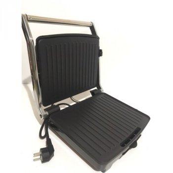 Гриль електричний контактний притискної Crownberg CB-1067 з антипригарним покриттям 1500W Black/Silver
