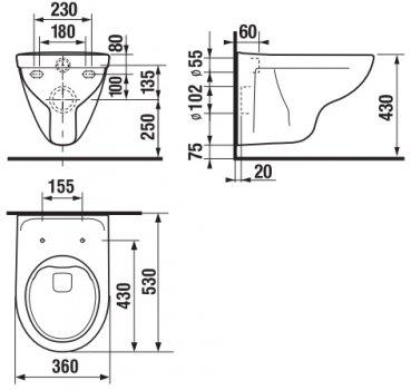 Унитаз подвесной JIKA Lyra Plus Rimless H821384H890385 с сиденьем Soft Close H8903850000631