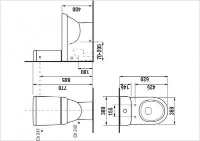 Чаша унитаза напольная JIKA Tigo H8242160002311 без бачка и сиденья