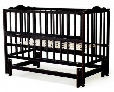 Дитяче ліжко-колиска АНАСТАСІЯ Кузя, відкидна боковинка, венге