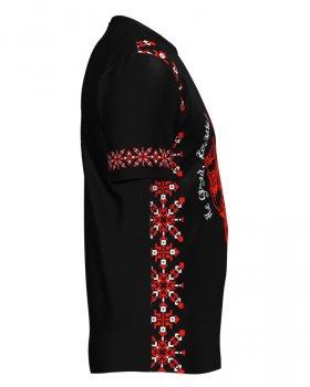 Футболка мужская патриотическая RIGO УКРАИНА Черная с красным (R.UA2.01)