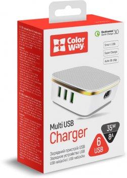 Сетевое зарядное устройство ColorWay 6 USB (1QC3.0 + 5 AUTO ID) 7A (35W) White (CW-CHS019Q-WT)