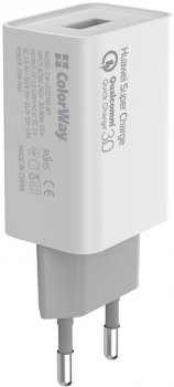 Сетевое зарядное устройство ColorWay 1 USB Huawei Super Charge/Quick Charge 3.0, 4A (20W) White (CW-CHS014Q-WT)