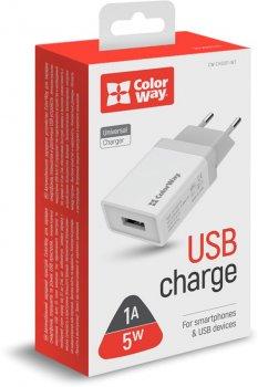 Сетевое зарядное устройство ColorWay 1 USB 1A White (CW-CHS011-WT)