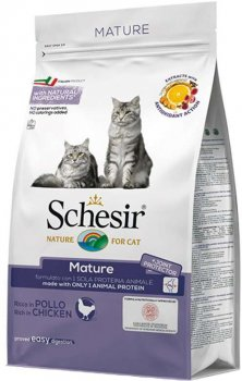 Сухой монопротеиновый корм для пожилых котов Schesir Cat Mature с курицей 400 г (8005852760074)