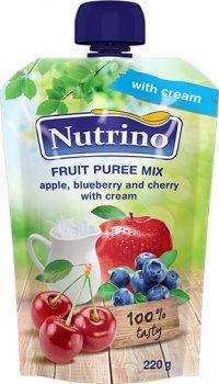 Упаковка фруктового пюре Nutrino мікс з яблука, чорниці, вишні та вершків 220 г х 6 шт. (8606019657543)