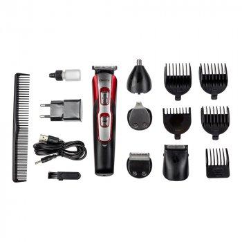 Набор для стрижки волос 10 в 1 Geemy GM 592 Машинка для стрижки + Триммер мужской Беспроводной Красный