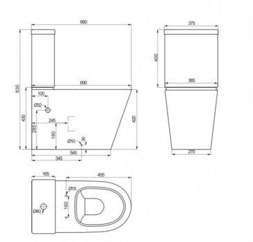 Унітаз-компакт PRIMERA Topic 8490020 з бачком і сидінням Soft Close дюропласт