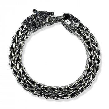 """Серебряный браслет """"Чёрная Пантера"""" размер 24 вес 152,98 проба 925 [Black-Pearl]"""