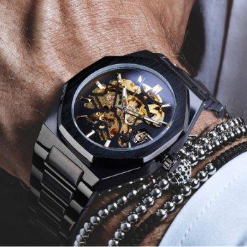 Наручний годинник AlexMosh чоловічі Gusto Skeleton Black-Gold (1)