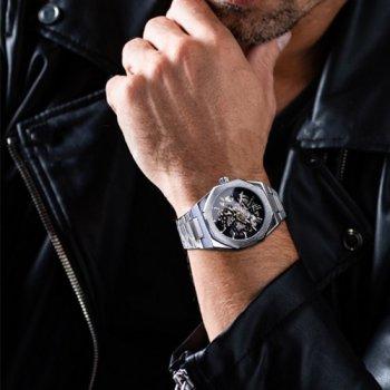 Наручний годинник AlexMosh чоловічі Gusto Skeleton Silver-Black (3)