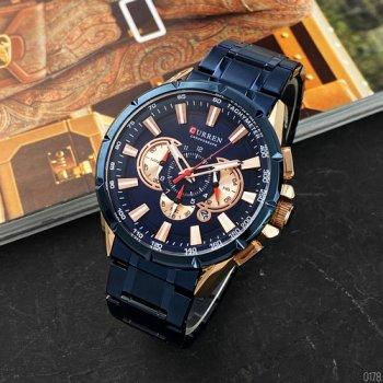 Наручний годинник AlexMosh чоловічі Curren Blue-Cuprum (1026)