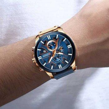 Наручний годинник AlexMosh чоловічі Curren Blue-Cuprum (1025)