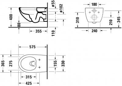 Унитаз DURAVIT Architec Rimless 2572090000 + сиденье Soft Close 0069690000 дюропласт