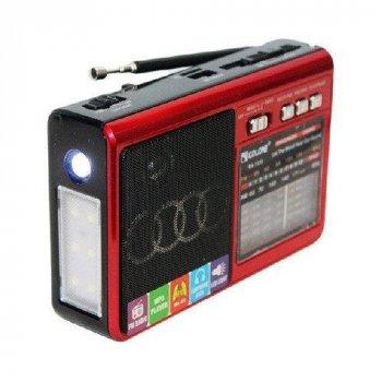 Портативный радиоприемник аккумуляторный Golon RX-1313 мини радио колонка с FM AM USB microSD и фонариком (TR007)