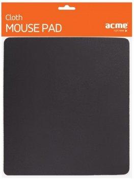 Компьютерный игровой коврик для мышки Acme Cloth Mouse Pad 22.5 см х 25.2см Черный (95068del)