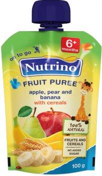 Упаковка фруктового пюре Nutrino з яблука, груші, банана та злаків з 6 місяців 100 г х 6 шт. (8606019657475)
