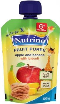 Упаковка фруктового пюре Nutrino з яблука, банана та печива з 6 місяців 100 г х 6 шт. (8606019652647)