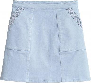 Юбка джинсовая H&M 4070654 Светло-голубая